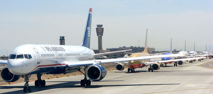 Planes waiting at Phoenix airport